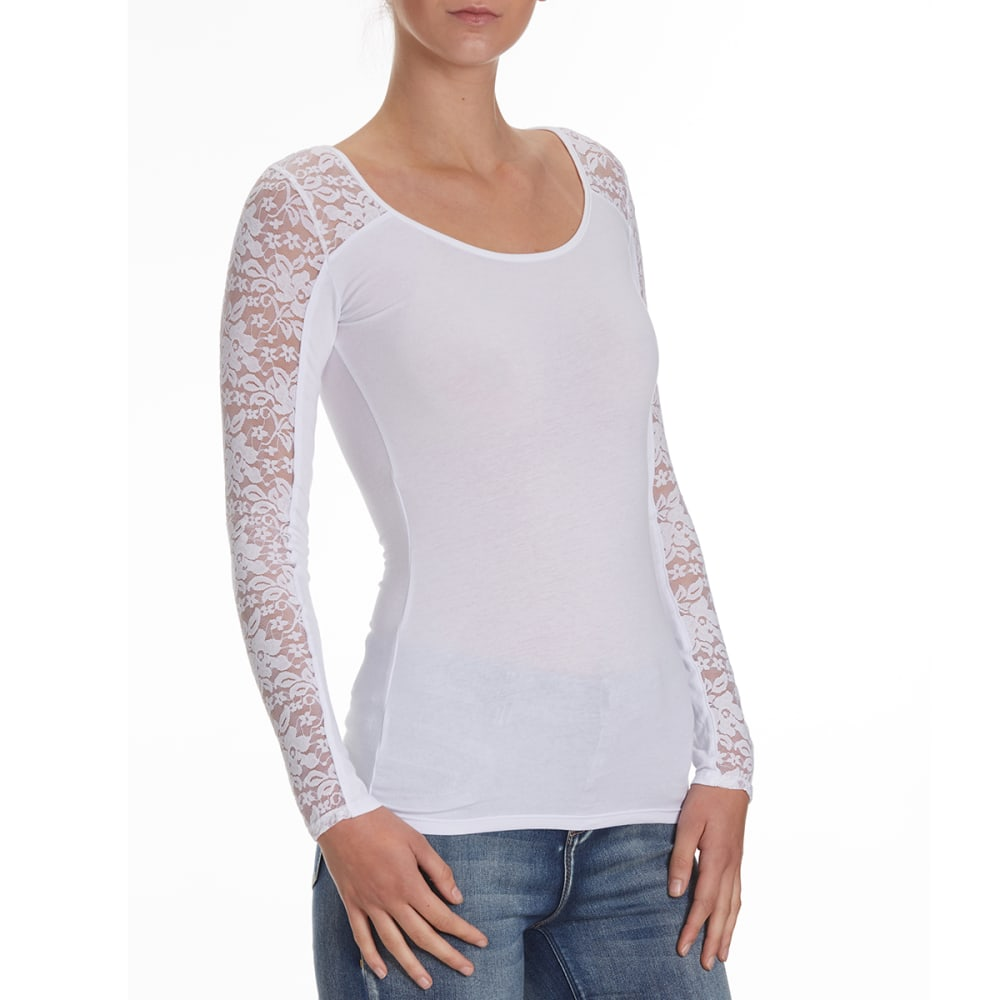 AMBIANCE Juniors' Lace Inset Yoke Long-Sleeve Tee - WHITE