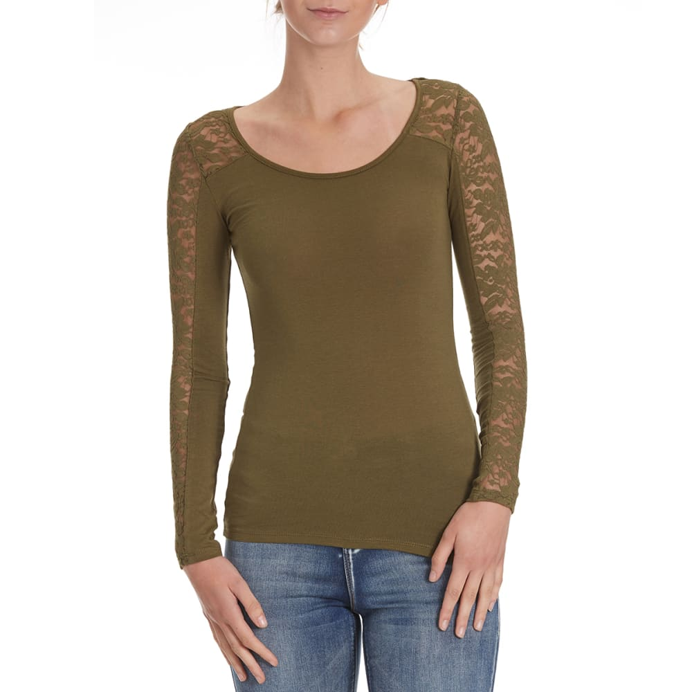 AMBIANCE Juniors' Lace Inset Yoke Long-Sleeve Tee - OLIVE