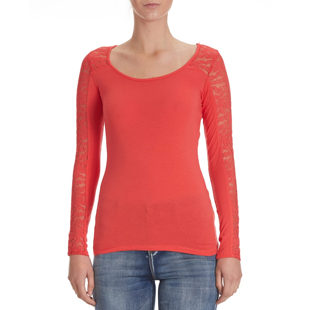 AMBIANCE Juniors' Lace Inset Yoke Long-Sleeve Tee - DARK CORAL