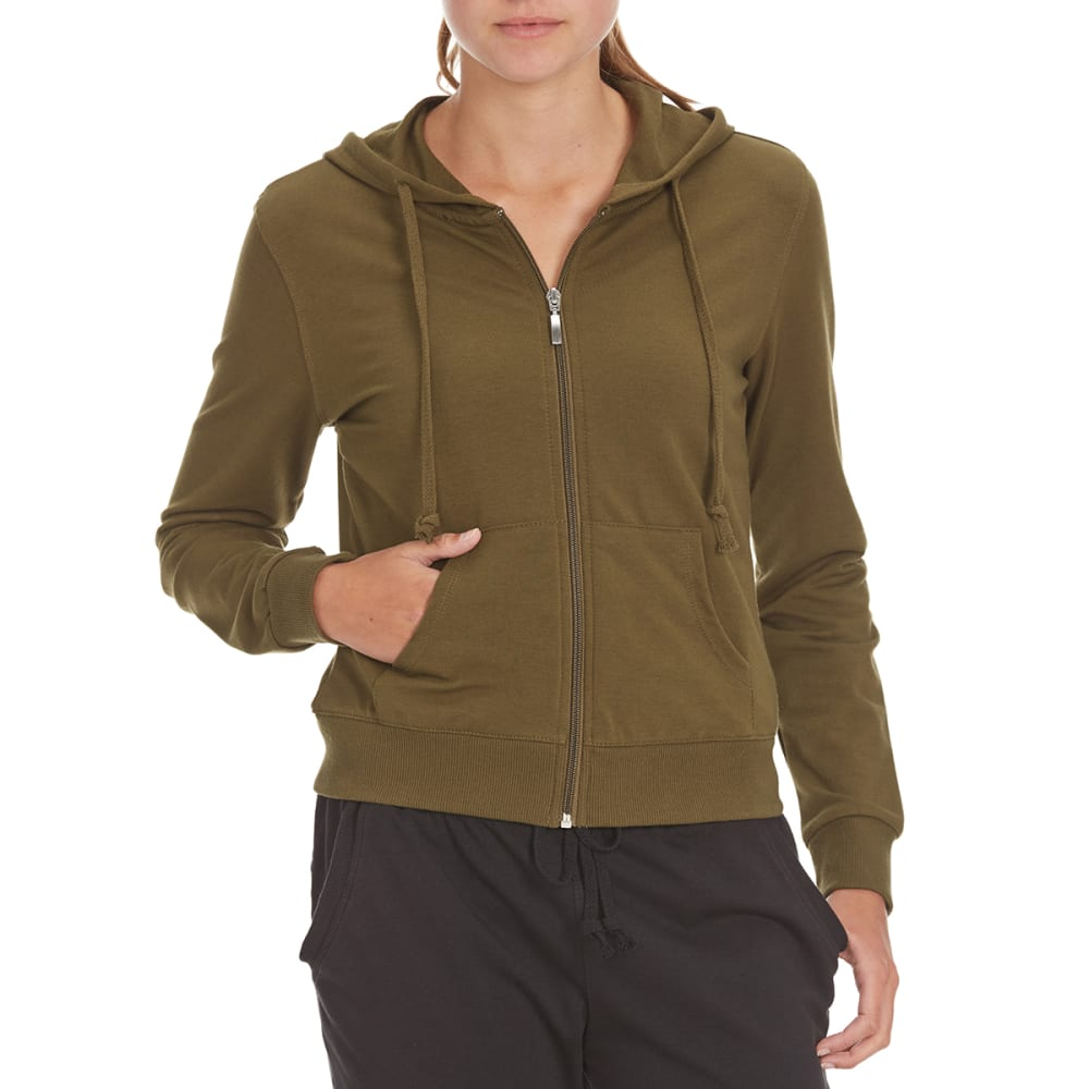 AMBIANCE Juniors' French Terry Full-Zip Hoodie - OLIVE
