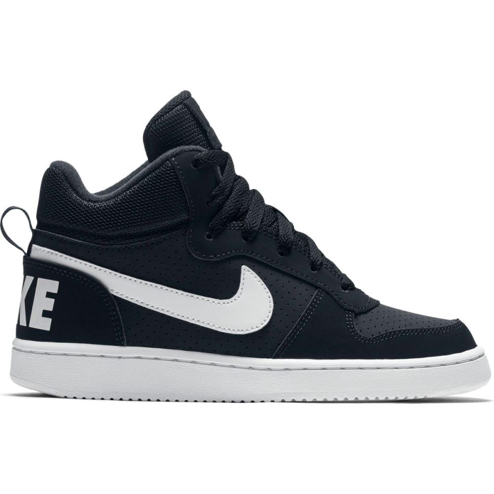 NIKE Big Boys' Court Borough Mid Basketball Shoes - BLACK