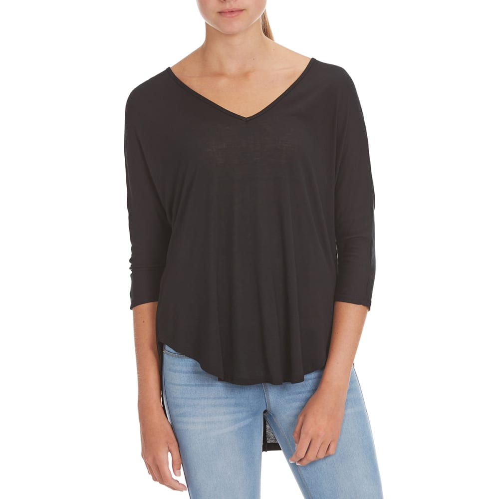 AMBIANCE Juniors' High-Low Dolman Sleeve V-Neck Top - BLACK