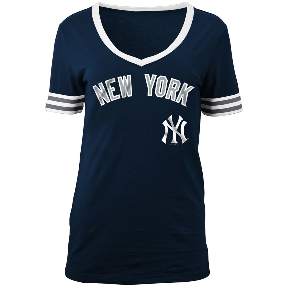 NEW YORK YANKEES Women's Chenille V-Neck Short-Sleeve Tee - NAVY