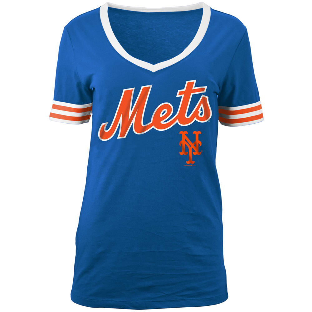NEW YORK METS Women's Chenille V-Neck Short-Sleeve Tee - ROYAL BLUE