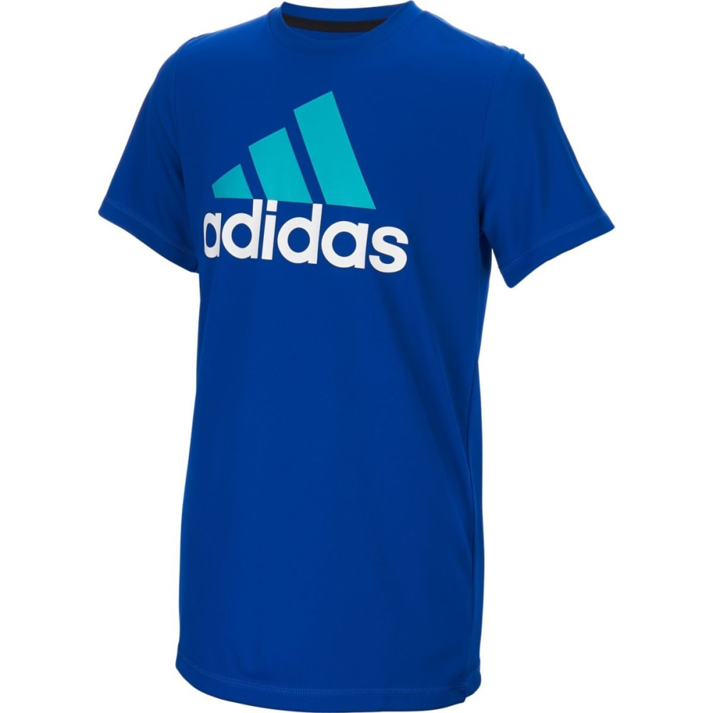 Adidas Boys' Clima Performance Logo Short-Sleeve Tee - Blue, S