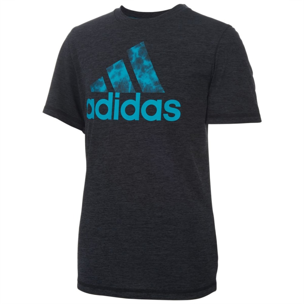 ADIDAS Boys' Print Logo Short-Sleeve Tee - BLK HTR-K01H