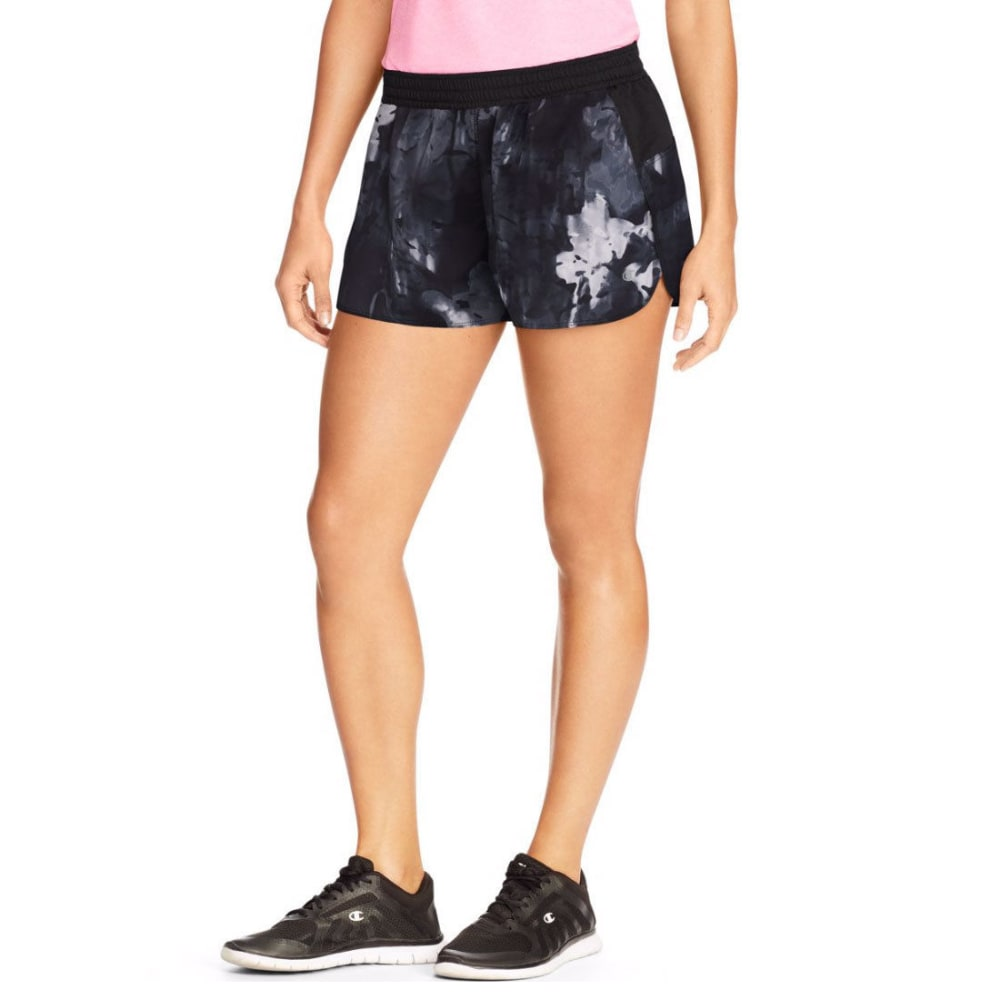 CHAMPION Women's Floating Floral Sport Shorts 5 - BLACK/WHITE-BUH