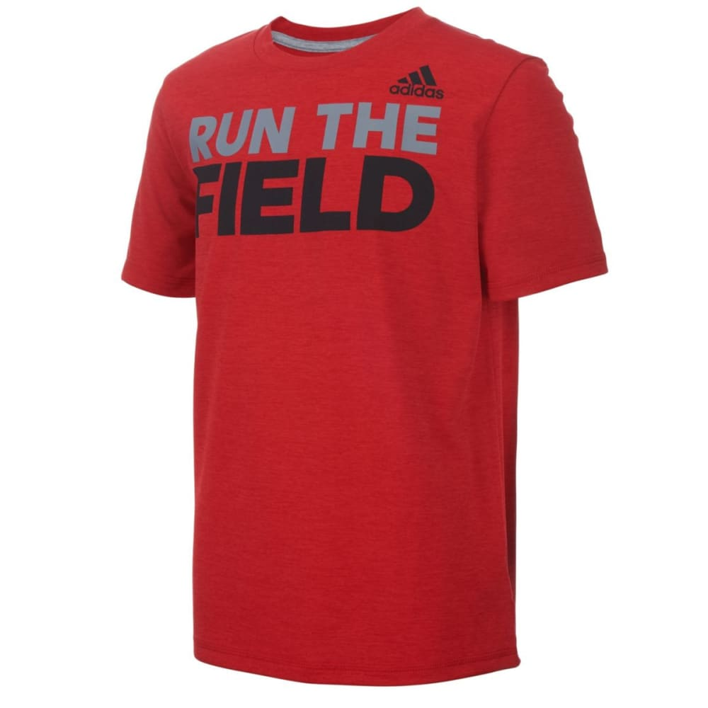 Adidas Boys Run The Game Short-Sleeve Tee - Red, S