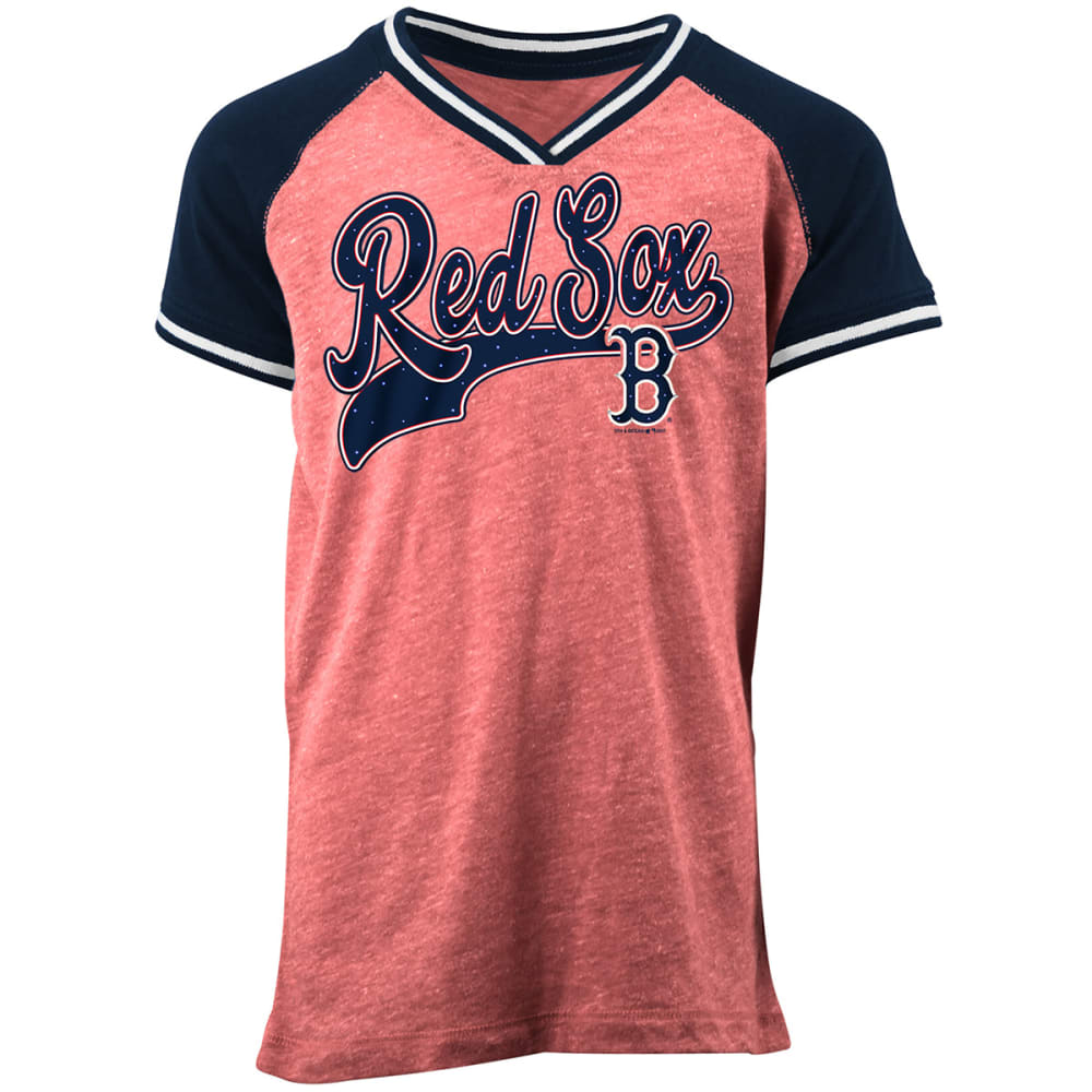 BOSTON RED SOX Girls' Rhinestone Short-Sleeve Tee - RED/NVY