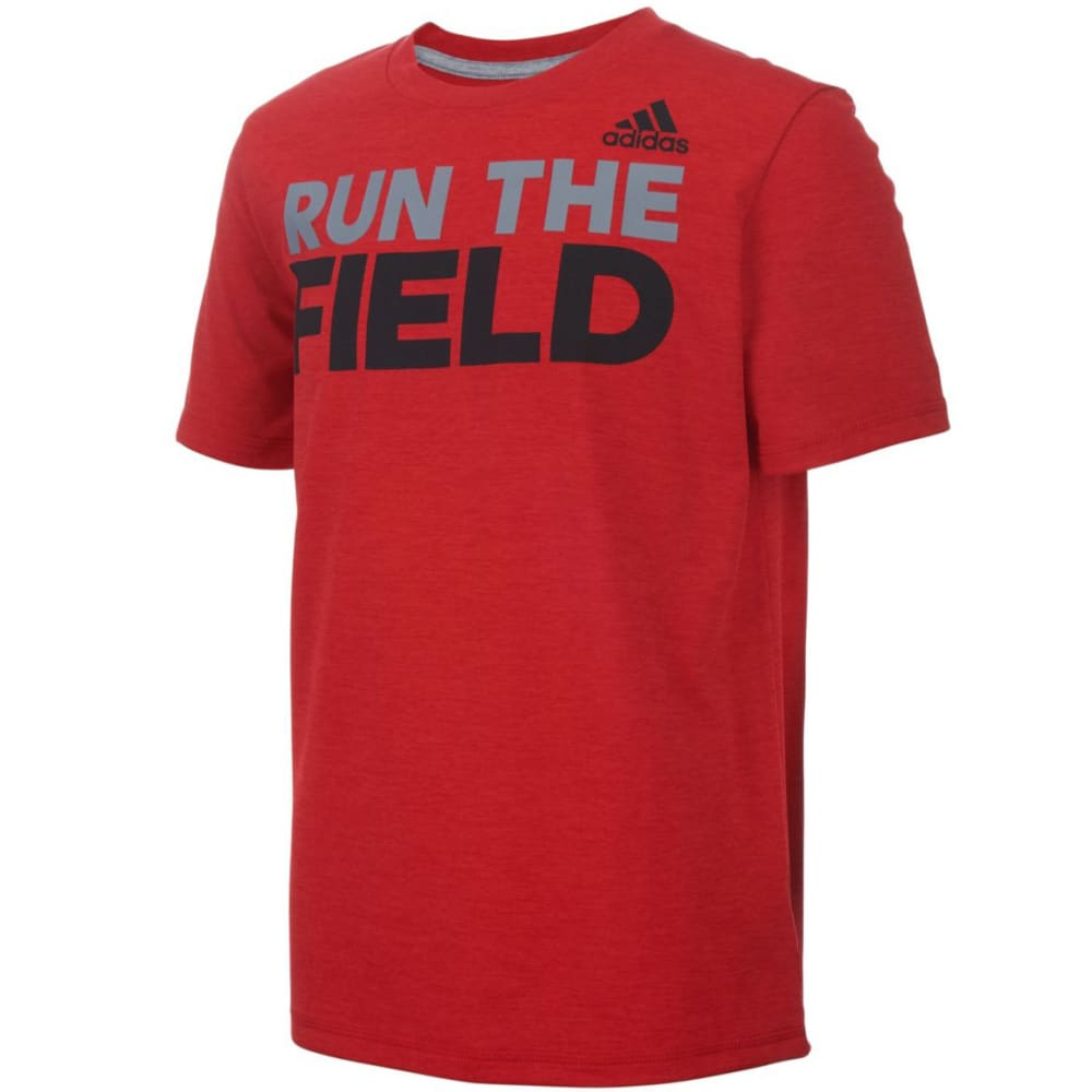ADIDAS Boys' Run the Game Tee - SCARLET HTR-AR04H