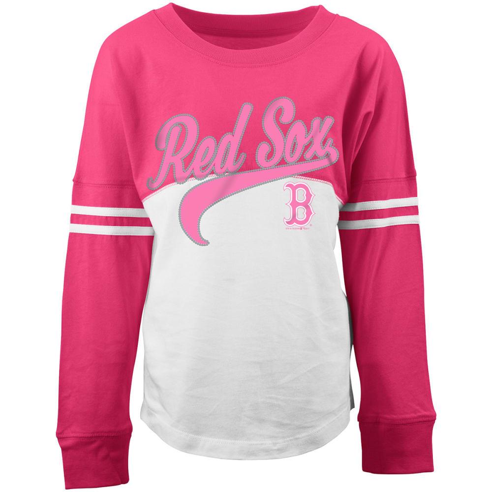 BOSTON RED SOX Girls' ¾-Sleeve Jersey Tee - WHITE/PINK