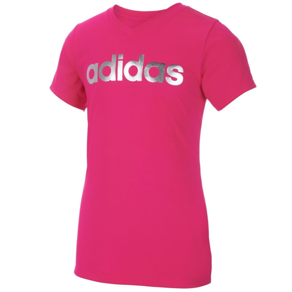 ADIDAS Girls' Graphic V-Neck Short-Sleeve Tee - SHOCK PINK-AF05