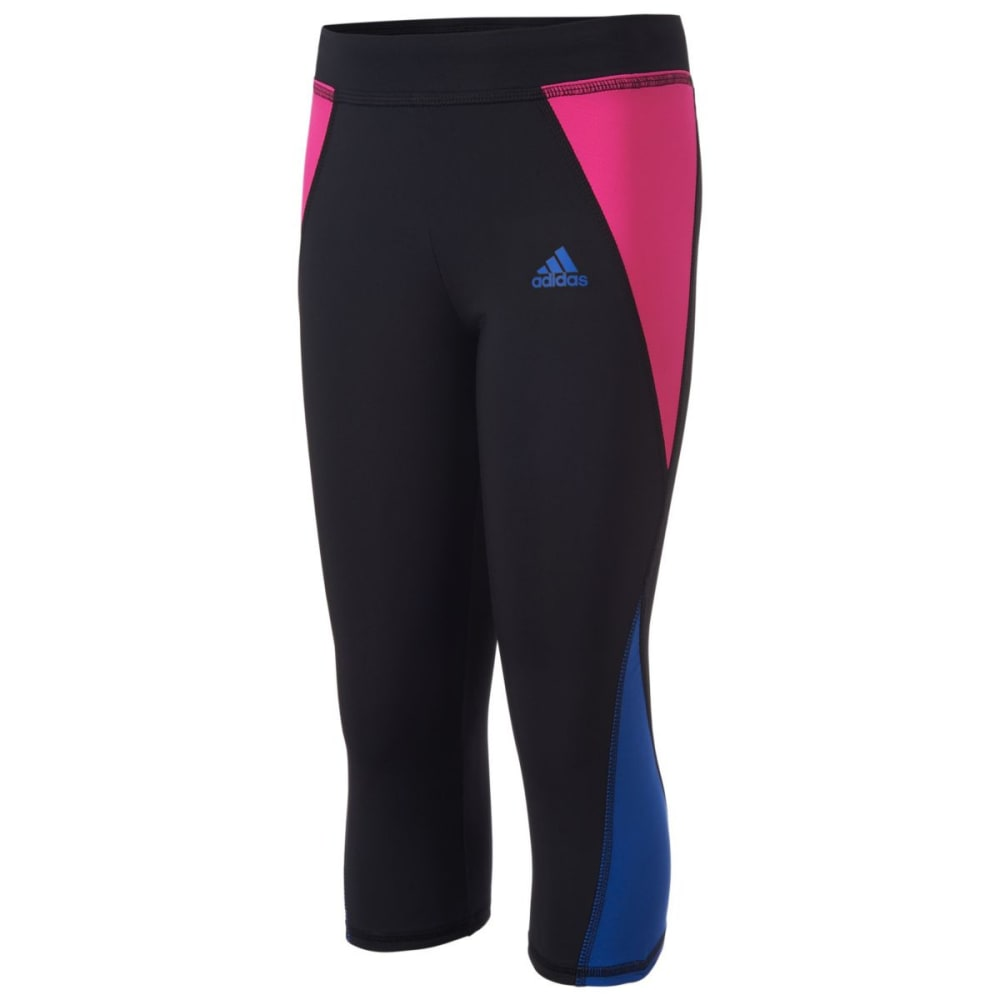ADIDAS Girls' Color-Blocked Capri Tights - BLACK/SHOCKPNK-K20