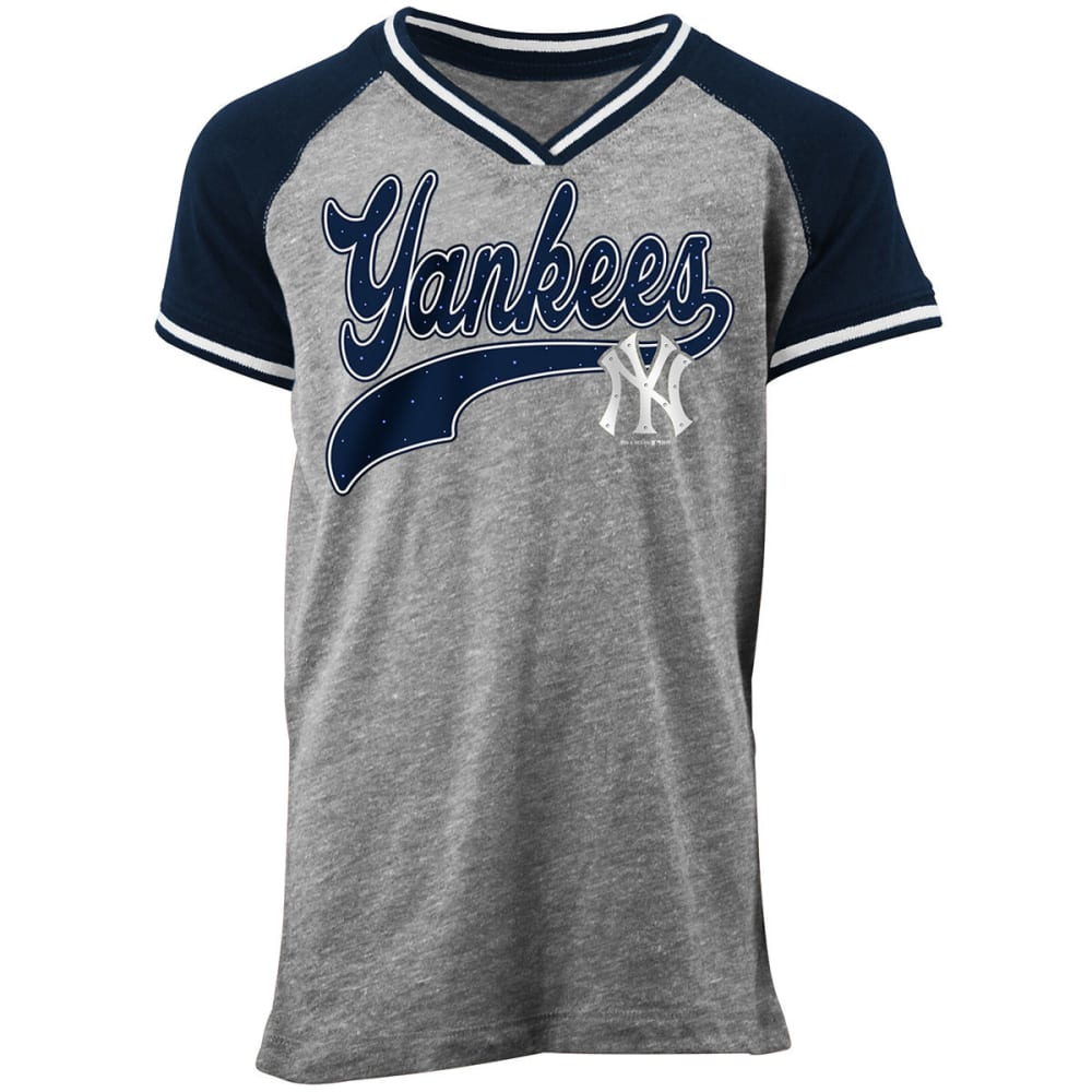 NEW YORK YANKEES Girls' Rhinestone Short-Sleeve Tee - GREY/NVY