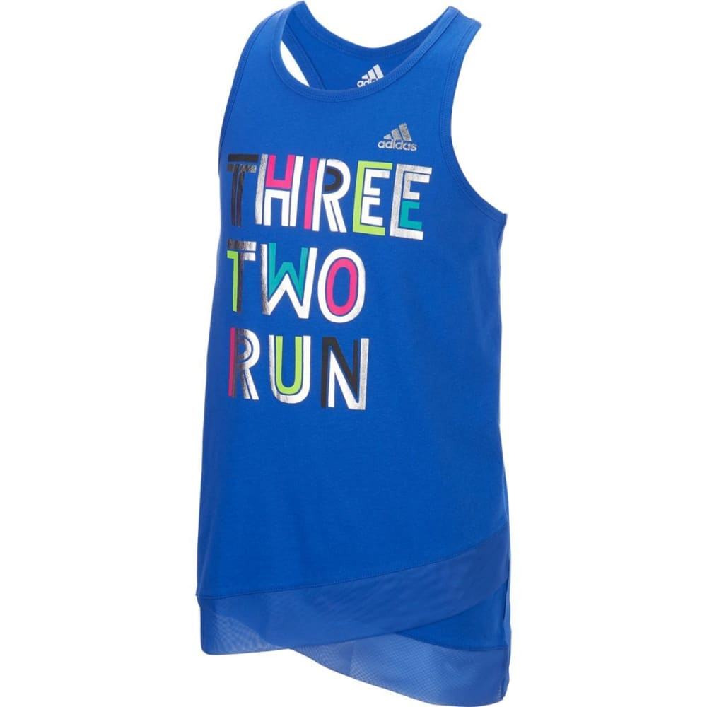 ADIDAS Girls' Three Two Run Tank - VIVID BLUE-AB01