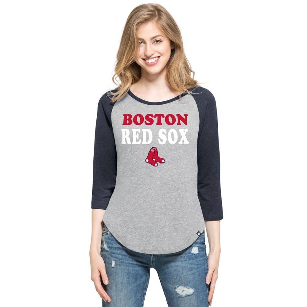 BOSTON RED SOX Women's '47 Club Raglan Long-Sleeve Tee - GREY