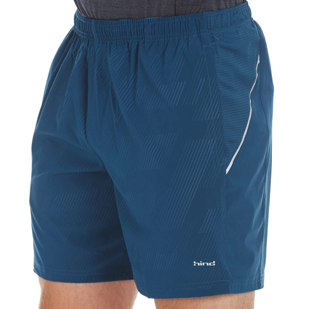 HIND Men's Solid Woven 7 in. Shorts with Briefs - BLUE STEEL-BLU