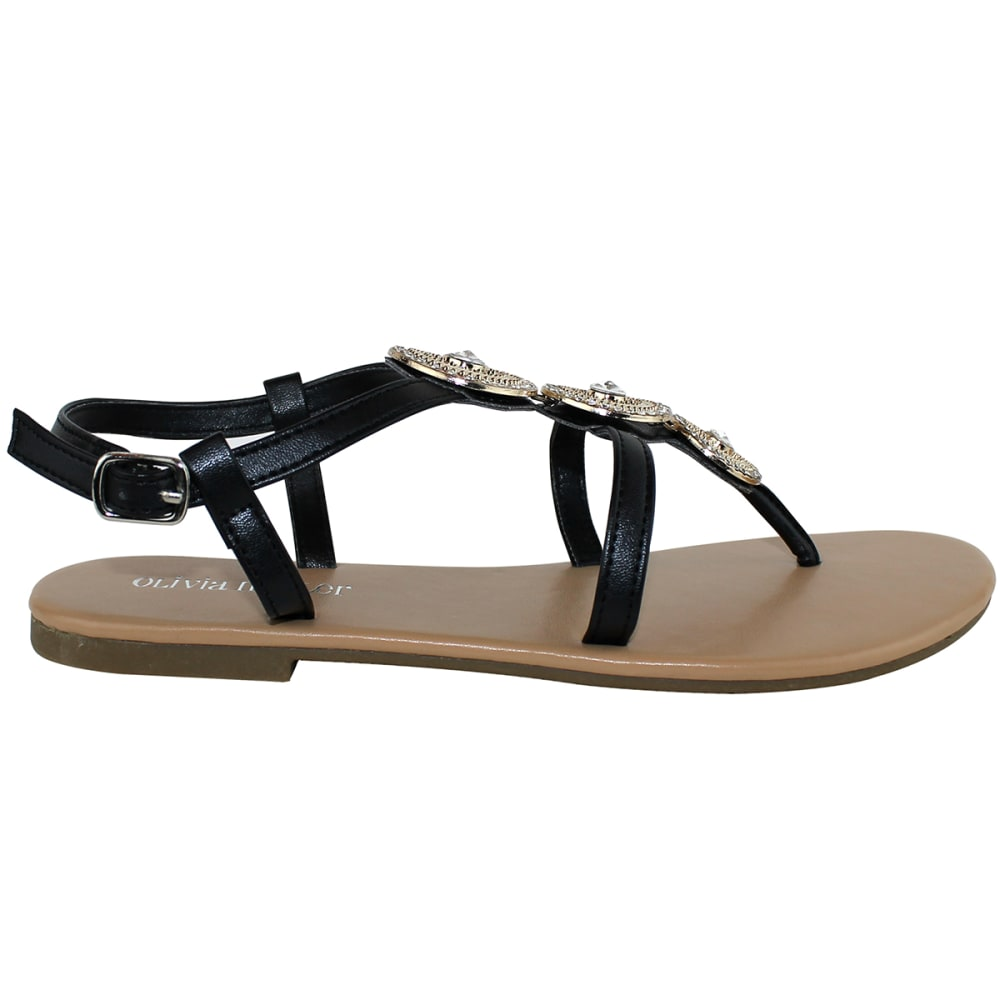 OLIVIA MILLER Women's Genoa Beaded Gladiator Sandals - BLACK