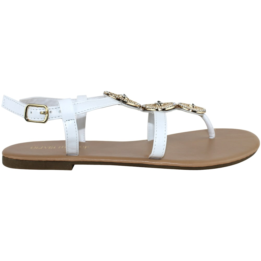 OLIVIA MILLER Women's Genoa Beaded Gladiator Sandals - WHITE