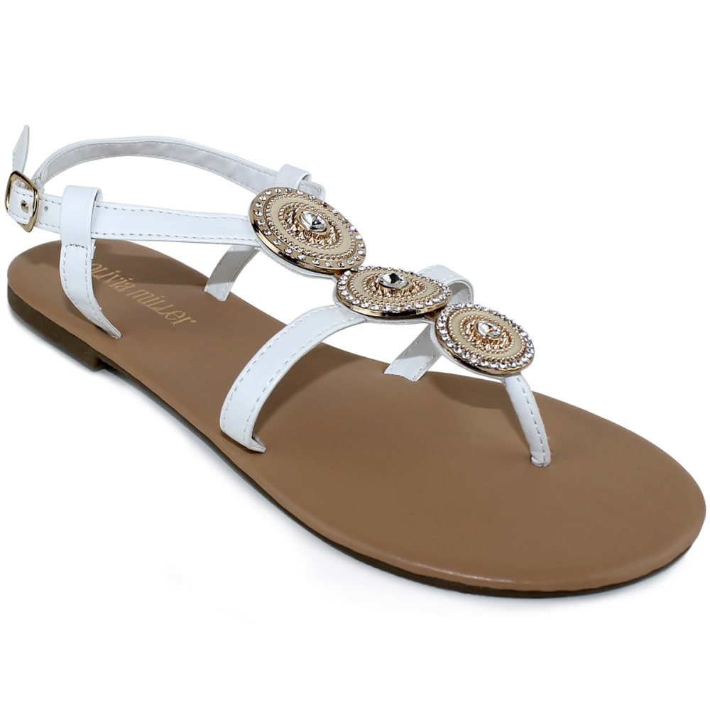 OLIVIA MILLER Women's Genoa Beaded Gladiator Sandals - WHITE