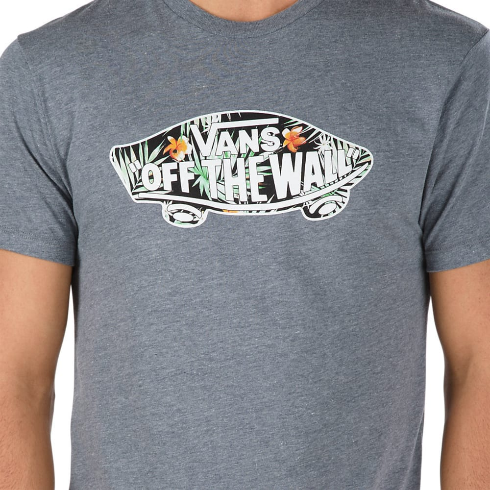 VANS Guys' Off The Wall Logo Fill Heather Short-Sleeve Tee - HTR GRY/DECAY PALM