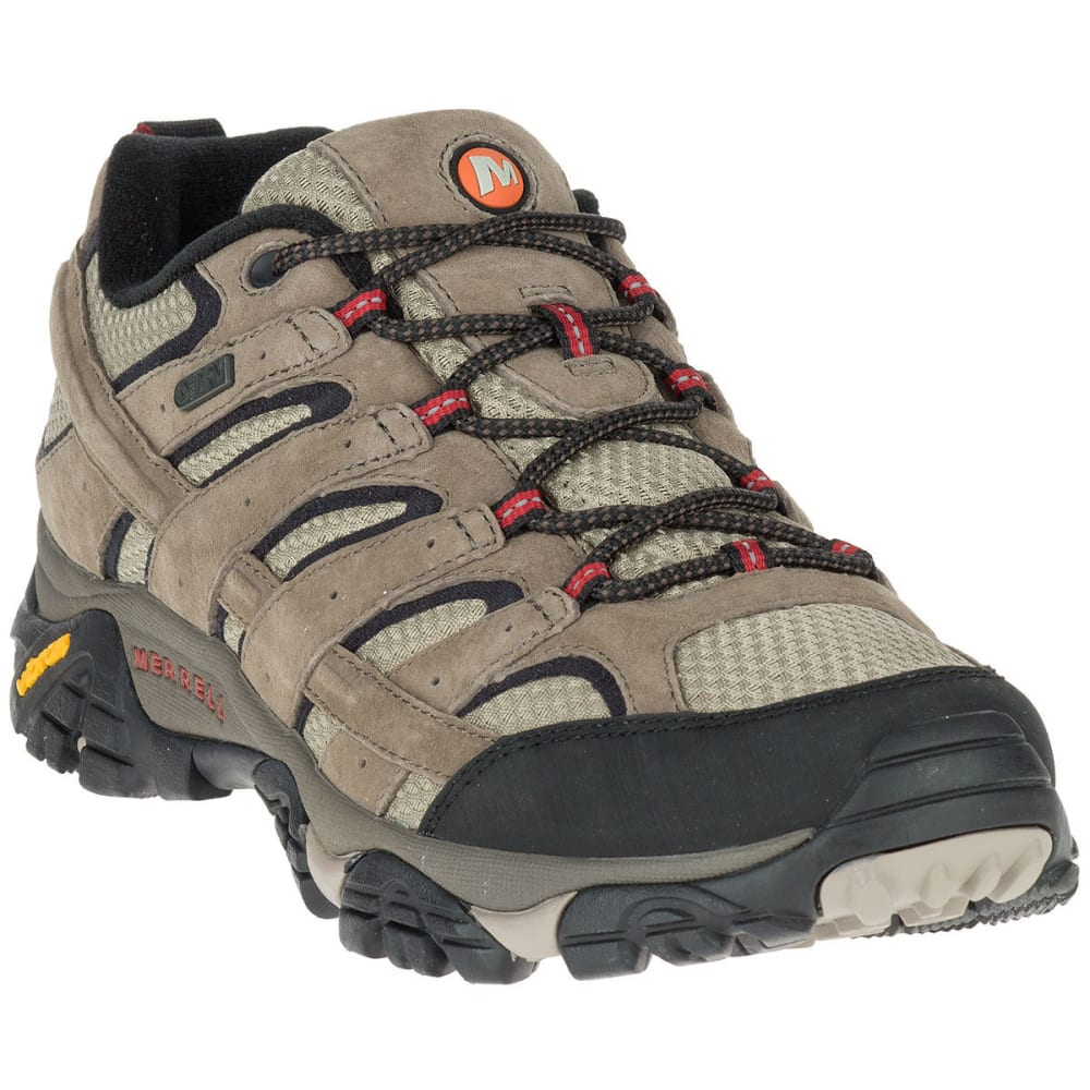 MERRELL Men's Moab 2 Waterproof Low Hiking Shoes, Wide, Bark Brown - BARK BROWN