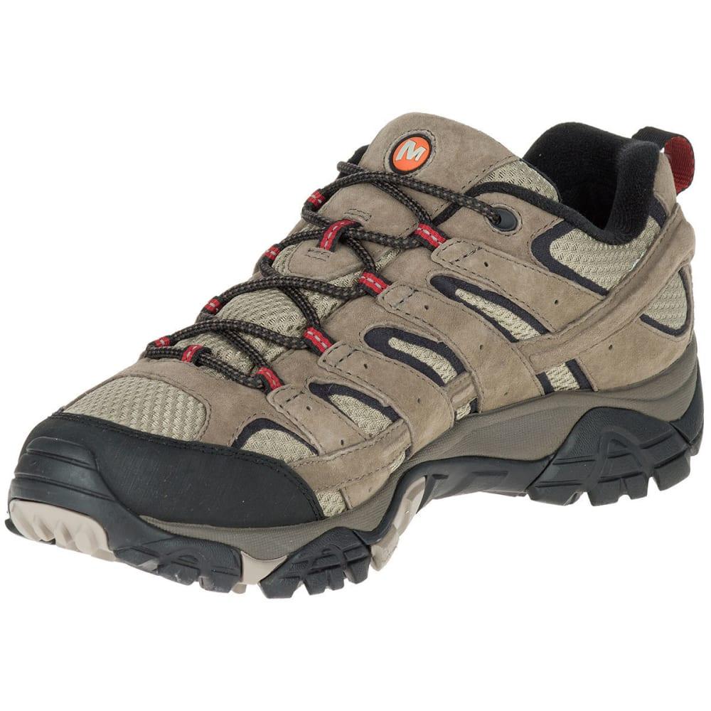 MERRELL Men's Moab 2 Waterproof Low Hiking Shoes, Wide, Bark Brown - BARK BROWN