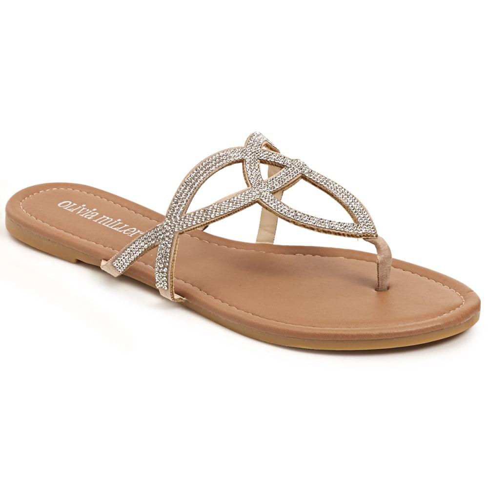 OLIVIA MILLER Women's Jax Rhinestone Cutout Sandals - SILVER