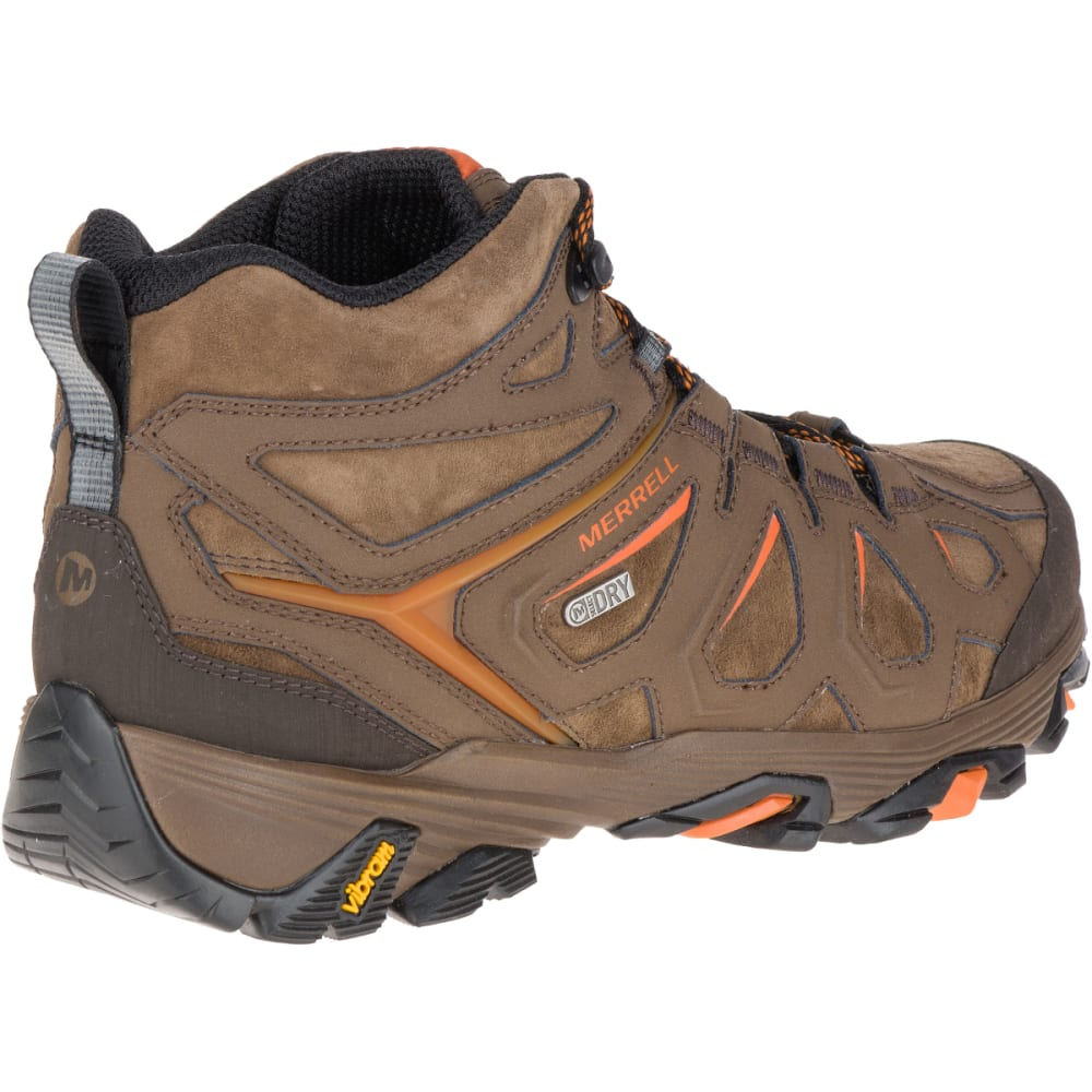 MERRELL Men's Moab FST Leather Mid Hiking Boots, Waterproof, Dark Earth - DARK EARTH