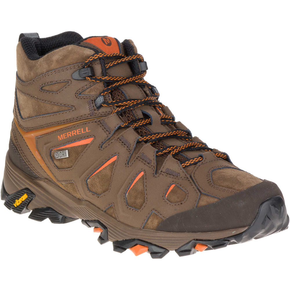 MERRELL Men's Moab FST Leather Mid Hiking Boots, Waterproof, Dark Earth 7