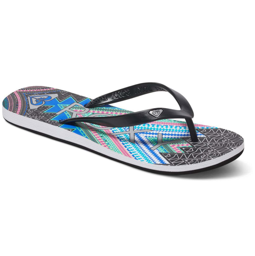 ROXY Women's Tahiti Flip-Flops, Black Tribal Print - BLACK TRIBAL