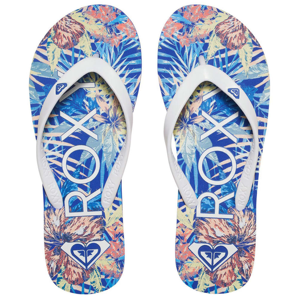 ROXY Women's Tahiti V Tropical Flip Flops - BLUE JAY/WHITE