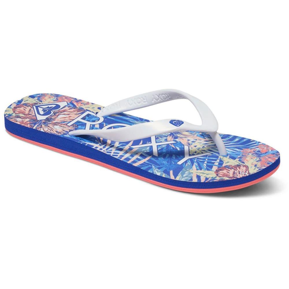 ROXY Women's Tahiti V Tropical Flip Flops - BLUE JAY/WHITE