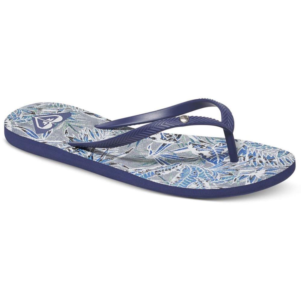 ROXY Women's Bermuda Flip-Flops, Navy/Blue/White Print - NAVY/BLUE/WHITE