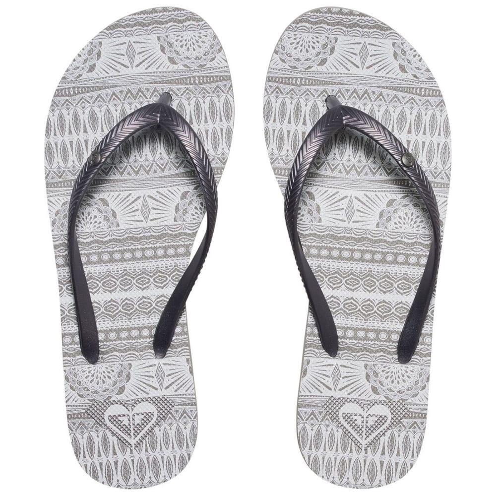ROXY Women's Bermuda Flip-Flops, Grey/White Tribal Print - GREY/WHITE
