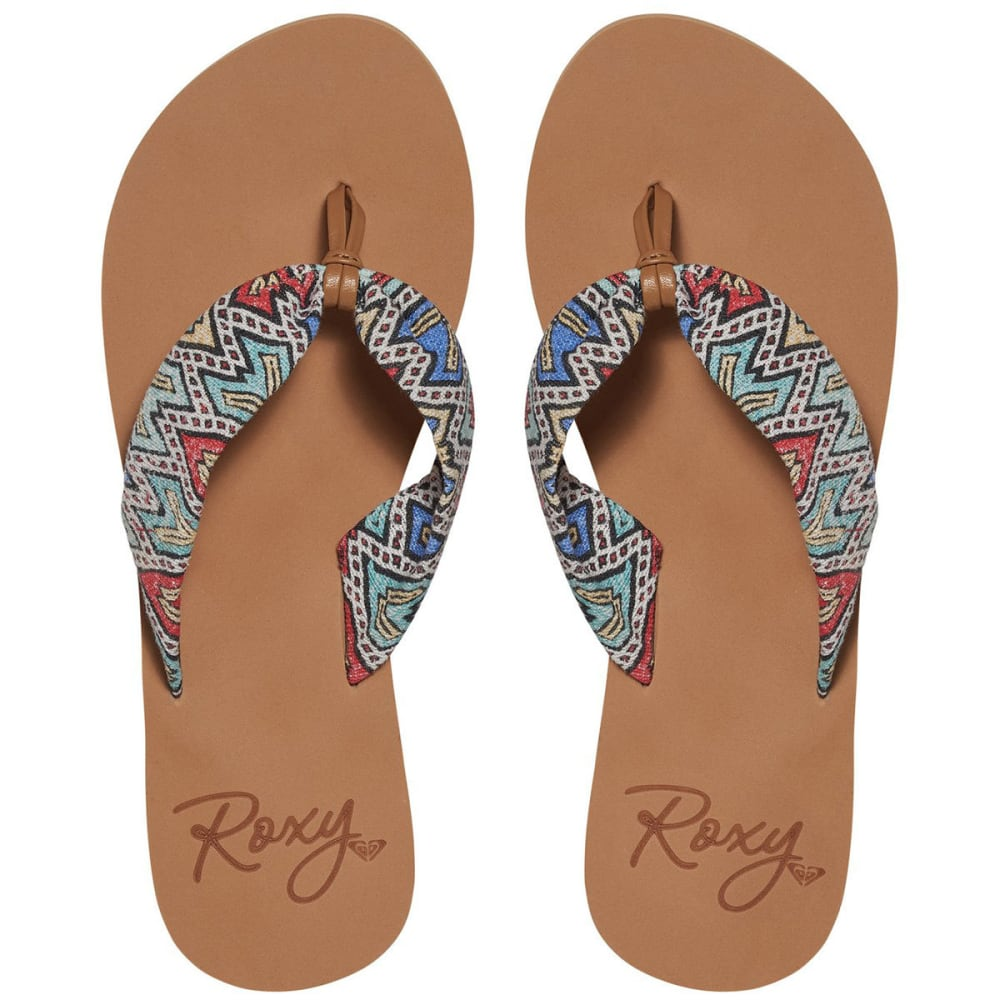 ROXY Women's Paia Flip Flops, Multi Tribal - MULTI