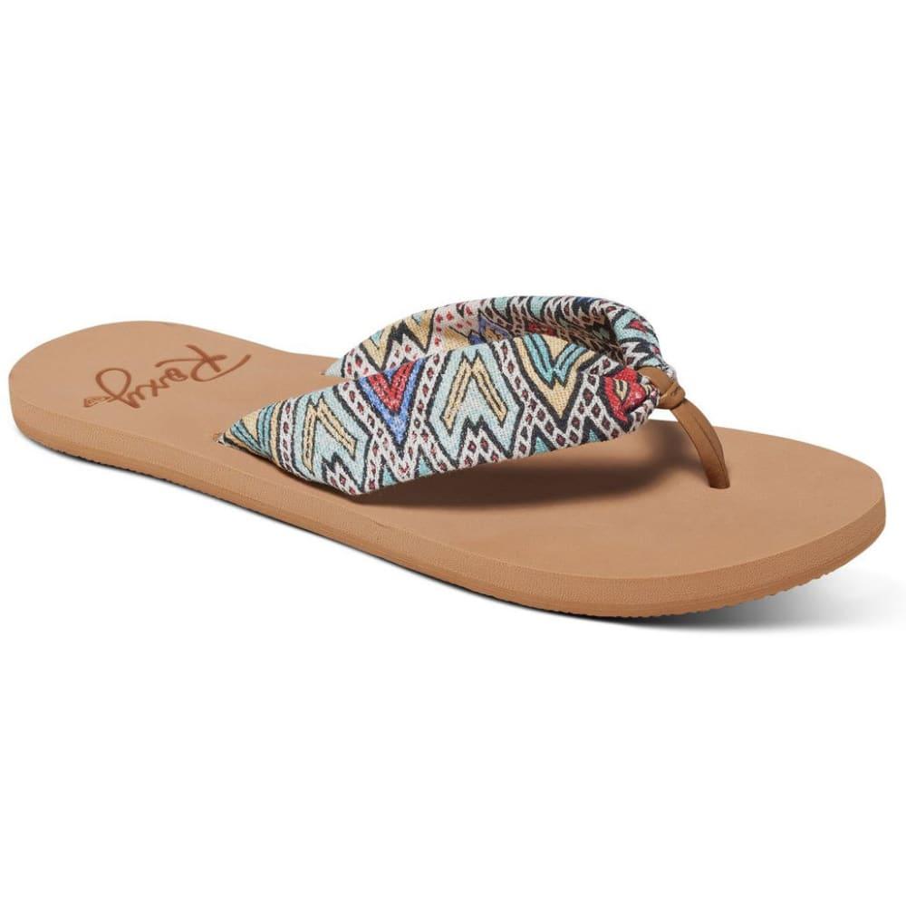 ROXY Women's Paia Flip Flops, Multi Tribal - MULTI