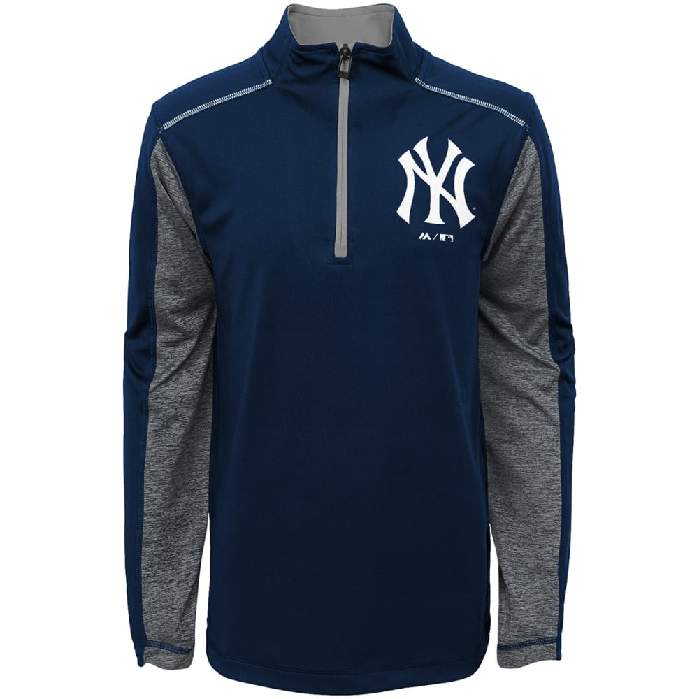 NEW YORK YANKEES Boys' Club Series ¼-Zip Fleece Pullover - NAVY