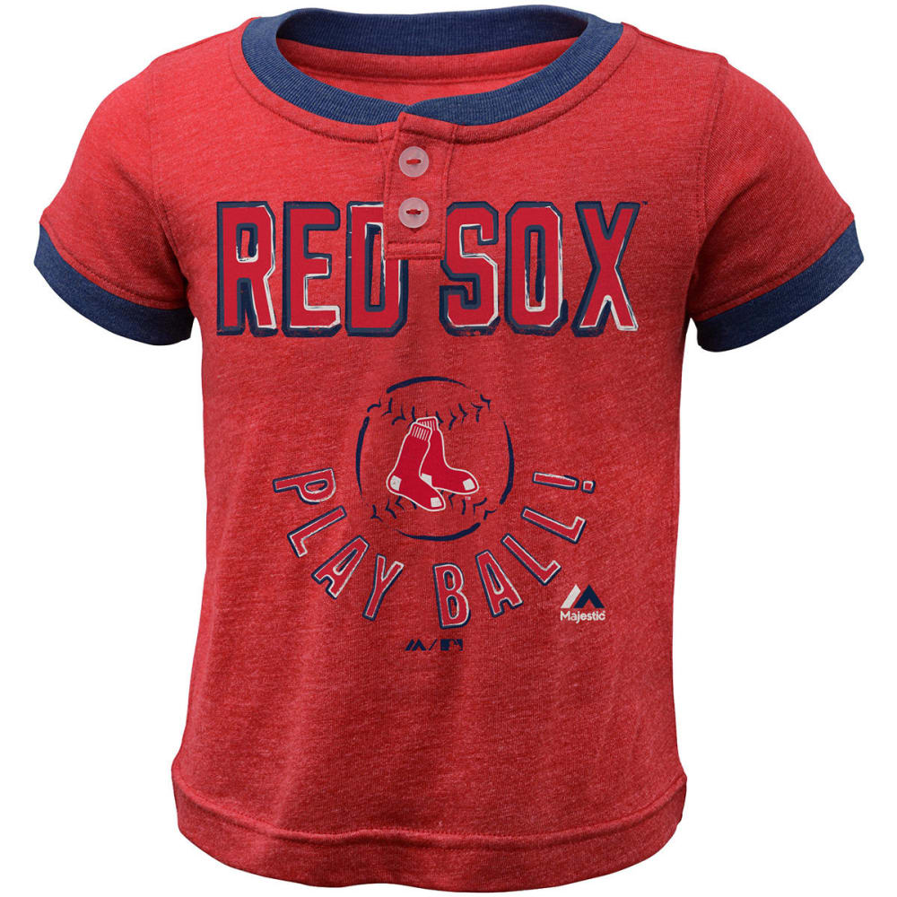 BOSTON RED SOX Boys' Play Ball Short-Sleeve Henley Tee - RED