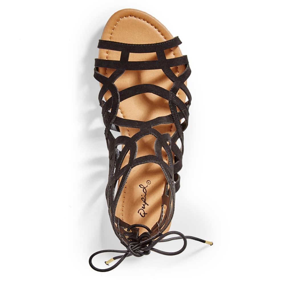 QUPID Women's Archer-199 Gladiator Sandals - BLACK
