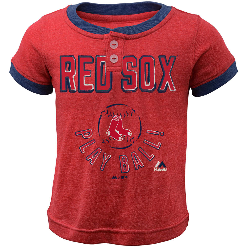 BOSTON RED SOX Toddler Boys' Play Ball Short-Sleeve Henley Tee - RED