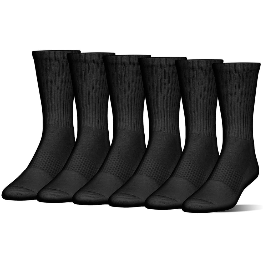 UNDER ARMOUR Men's Charged Cotton Crew Socks, 6 Pack L