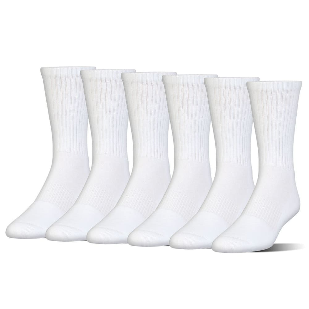 UNDER ARMOUR Men's Charged Cotton Crew Socks, 6 Pack - WHITE