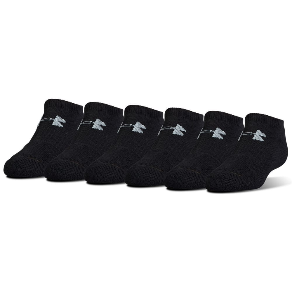 UNDER ARMOUR Men's Charged Cotton No-Show Socks, 6 Pack - BLACK