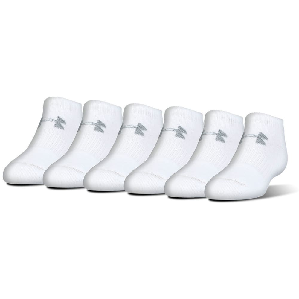 UNDER ARMOUR Men's Charged Cotton No-Show Socks, 6 Pack - WHITE