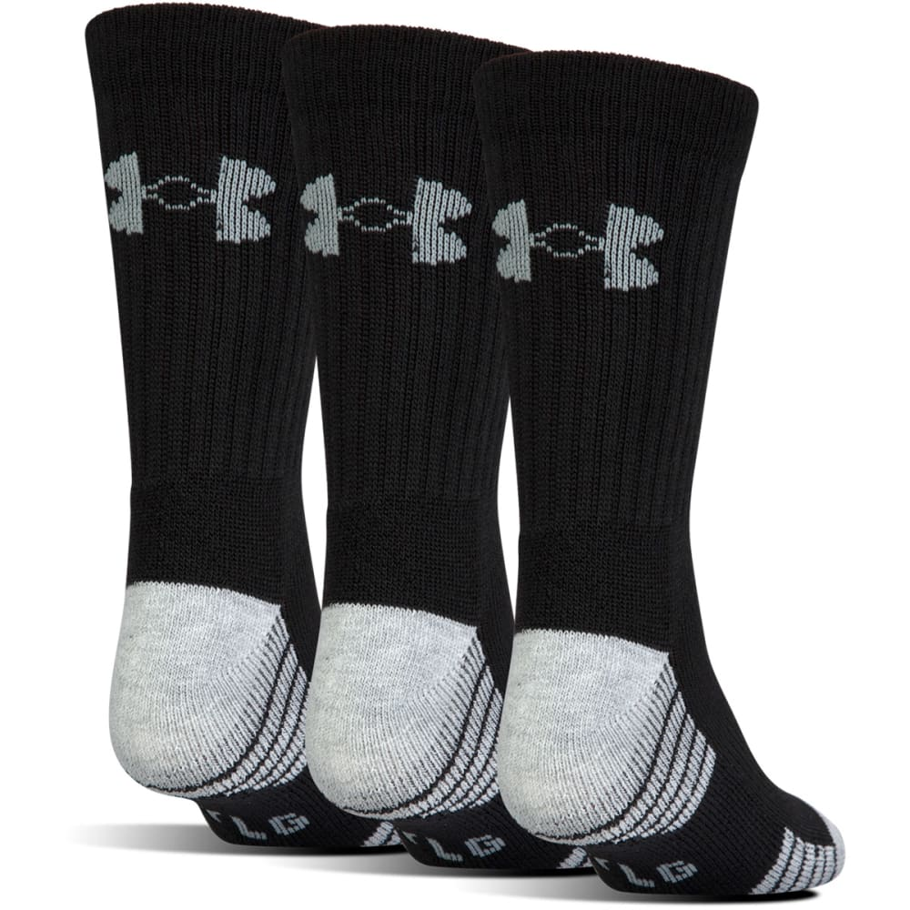 UNDER ARMOUR Men's Heatgear Tech Crew Socks, 3 Pack - BLACK
