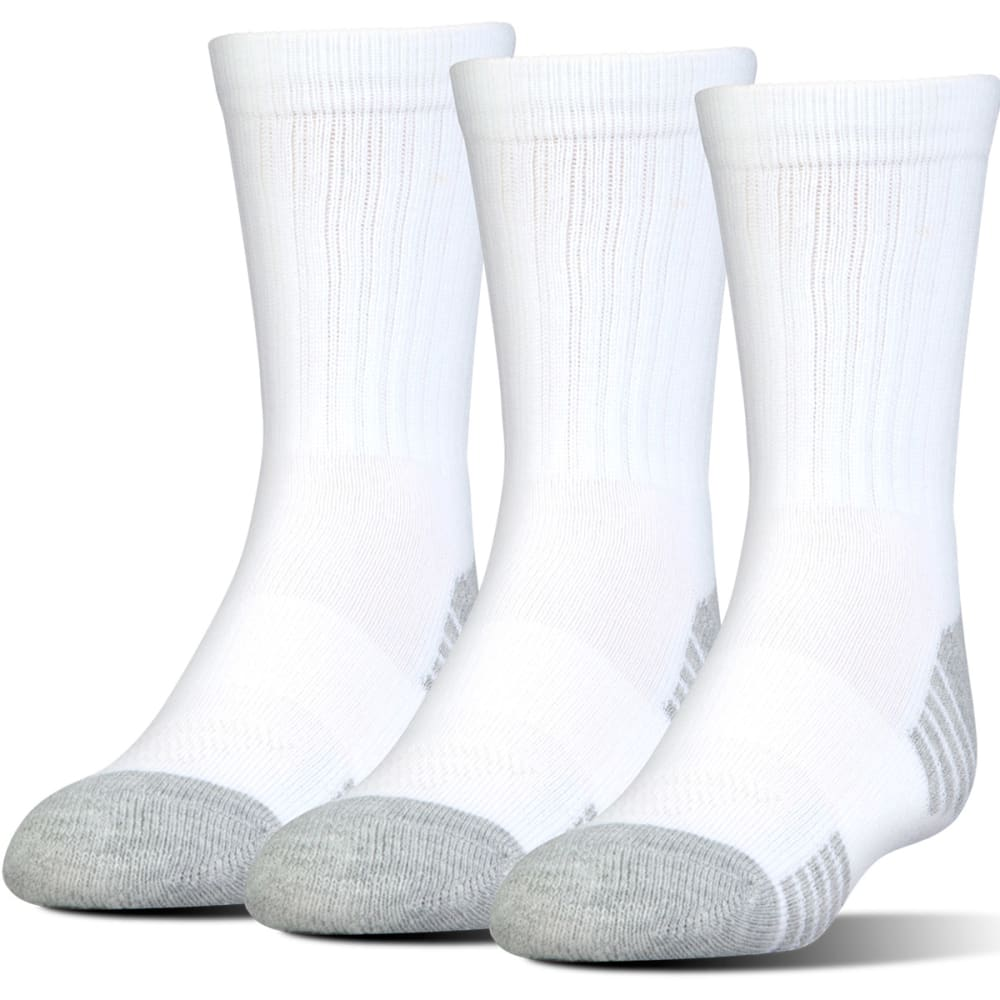 UNDER ARMOUR Men's Heatgear Tech Crew Socks, 3 Pack - WHITE
