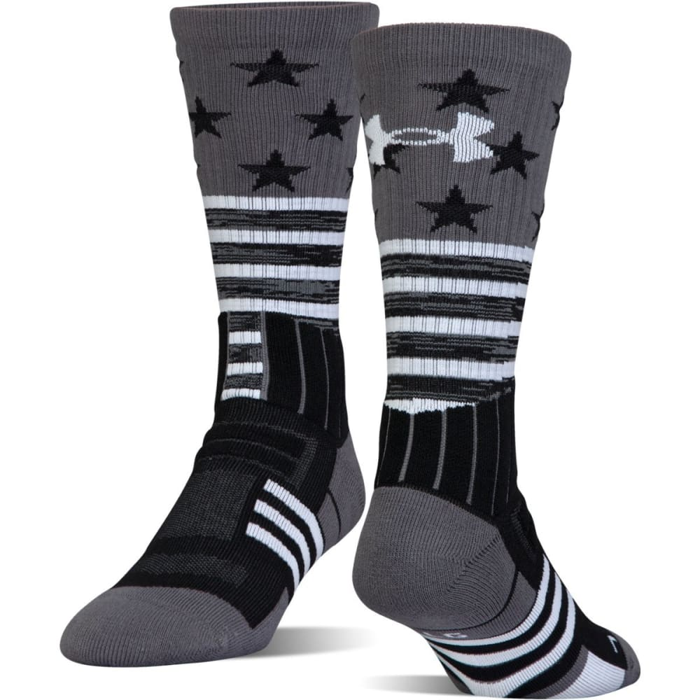 UNDER ARMOUR Men's Unrivaled Stars and Stripes Crew Socks - BLACK 001