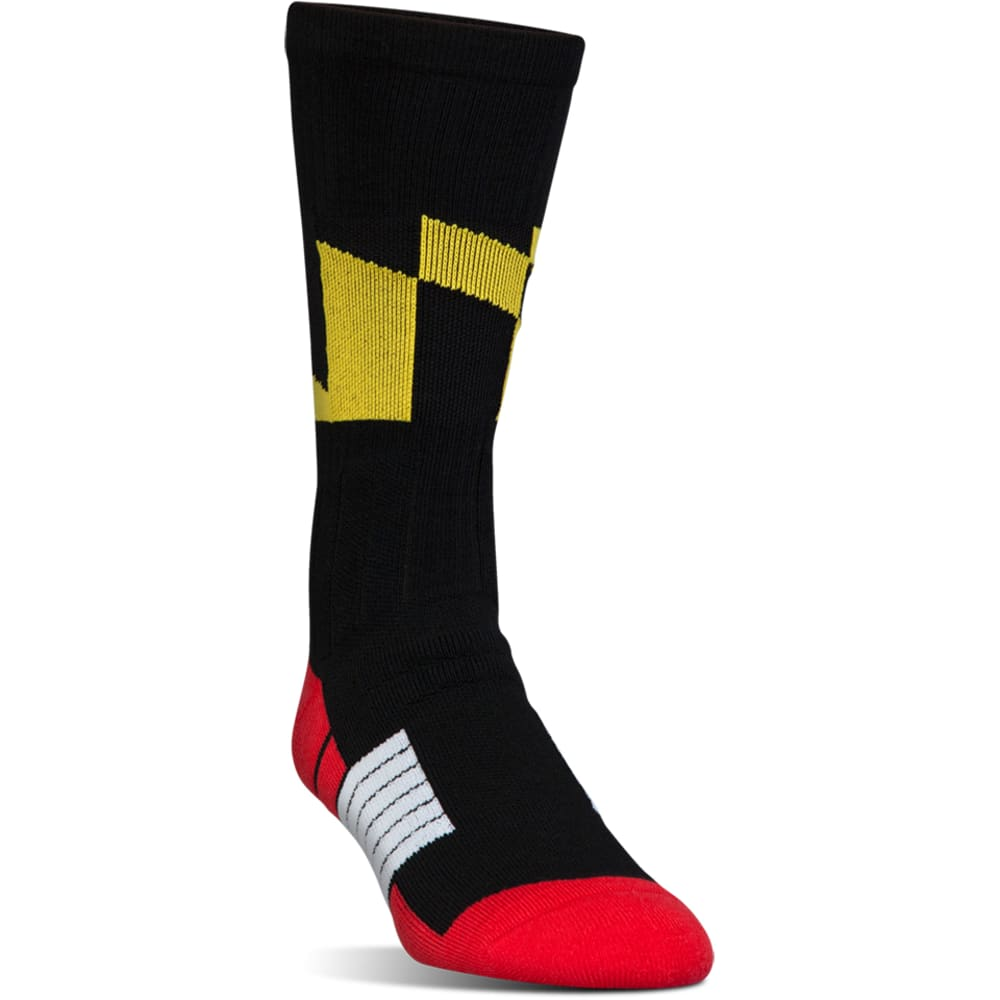 UNDER ARMOUR Men's Unrivaled Maryland Crew Socks - BLACK-001