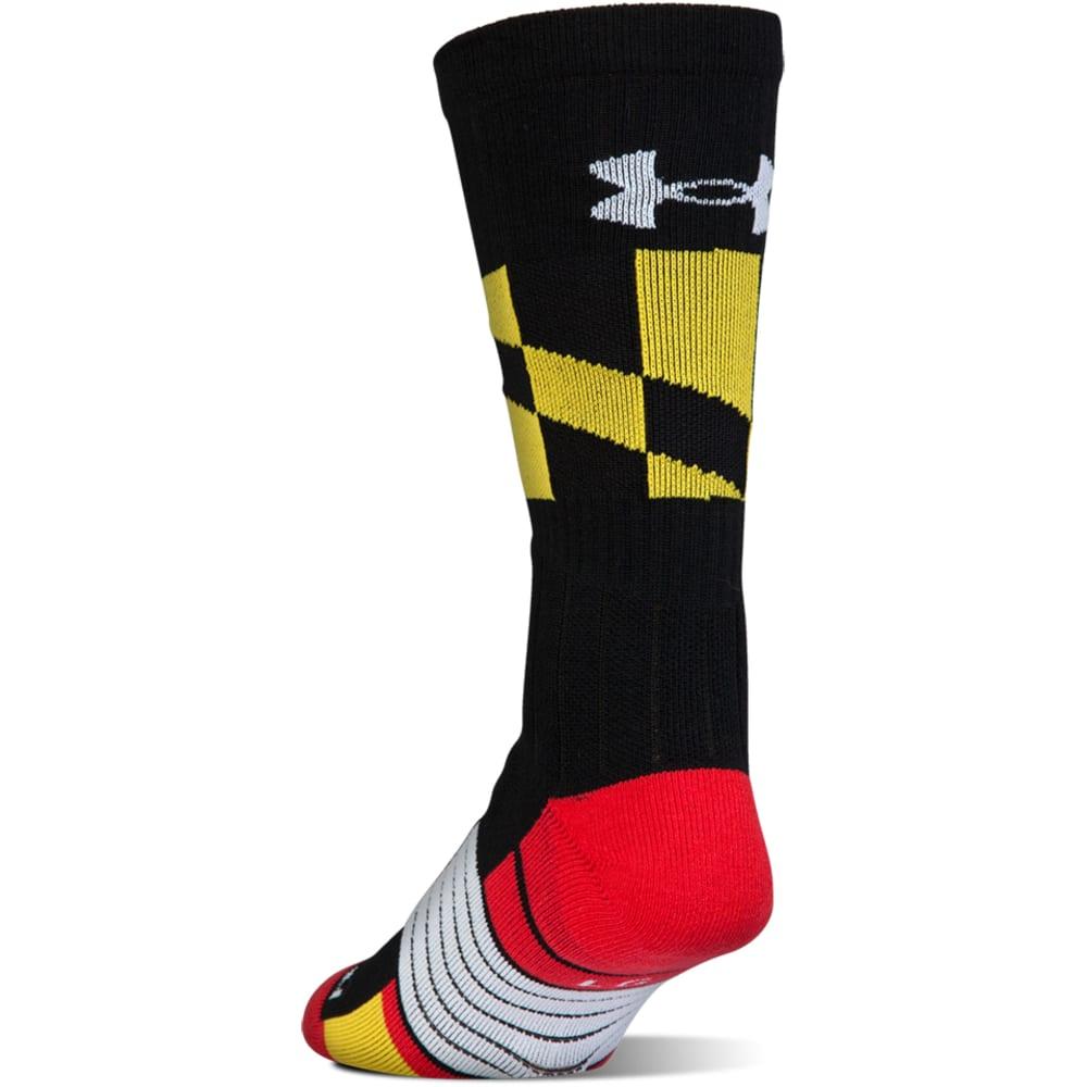 UNDER ARMOUR Men's Unrivaled Maryland Crew Socks - BLACK-001